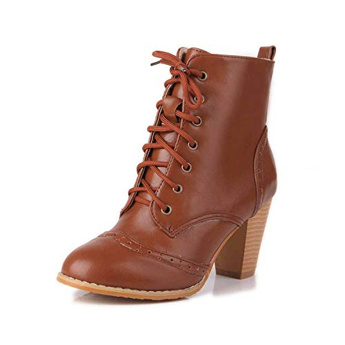 New Customized Square High Heels British Style Women Ankle Retro Autumn Winter Boots Size 34-48,tu Huang,12 (Womens Steel Toe Boots With Metatarsal Guard)