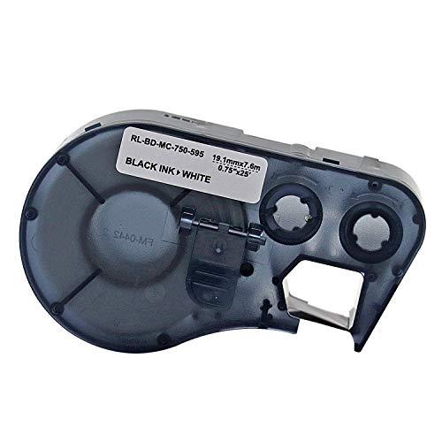 MC-750-595-WT-BK Vinyl B-595 Black on White Label Maker Cartridge, 25' Width x 3/4