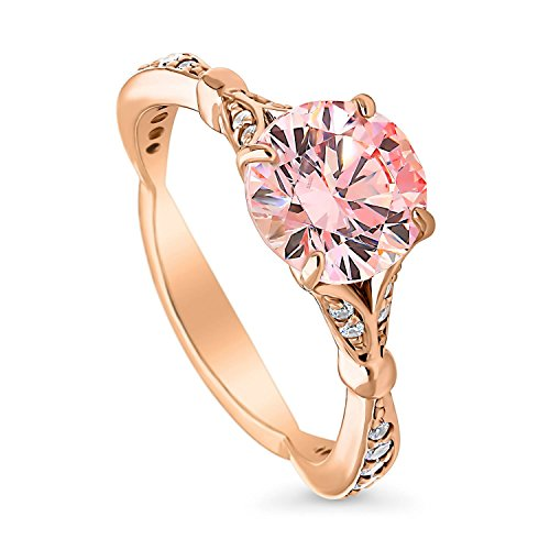 Diamond Pave Jewelry Box - BERRICLE Rose Gold Plated Sterling Silver Solitaire Promise Engagement Ring Made with Swarovski Zirconia Morganite Color Round 2.28 CTW Size 8