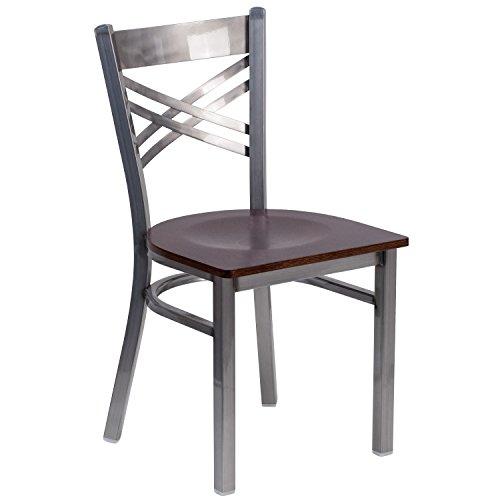 Flash Furniture Hercules Series Clear Coated ''X'' Back Metal Restaurant Chair - Walnut Wood Seat by Flash Furniture