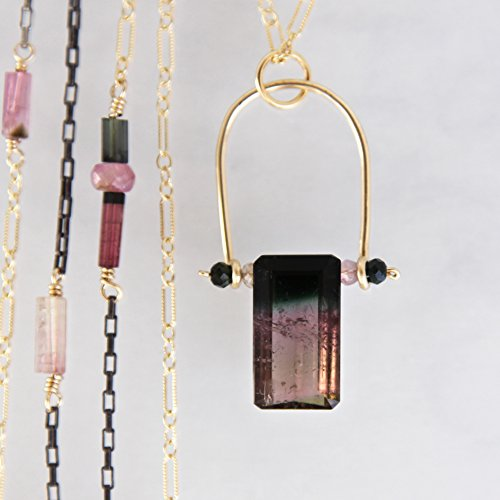 - Tricolor Tourmaline Necklacein Mixed Metals - Yellow Gold Filled and Oxidized Sterling Silver