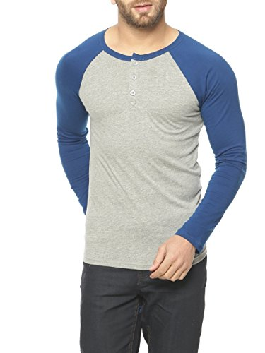GRITSTONES Grey Melange/Indigo Full Sleeve Round Neck T-Shirt