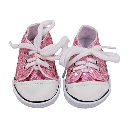 PrettyW Doll Clothes for 18 Inch Dolls - Canvas Lace Up Sneakers Shoes for 18 American Girl & Boy Dolls (Glitter-Pink)