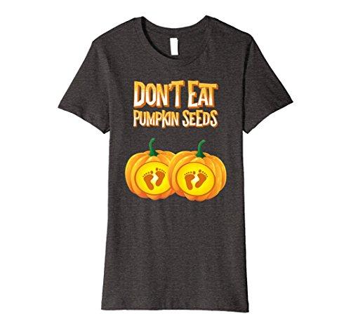 Womens Dont Eat Pumpkin Seeds Shirt Pregnancy Halloween Gift Twins Medium Dark Heather
