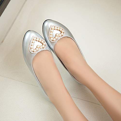 0d792b87df1c ... Flats 17 Pearl Ballet Women Pumps Shoes Ladies 6 Boat Seraph Dolly  Detail Silver FtTwqWYYd ...