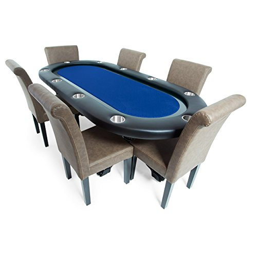 BBO Poker Elite Poker Table for 10 Players with Blue Speed Cloth Playing Surface, 94 x 44-Inch Oval, Includes 6 Lounge Chairs by BBO Poker