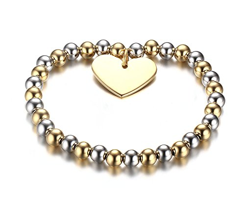 Womens Two Tone Stainless Steel Love Heart Tag Bead Chain Stretch Bracelet,6mm Width ()