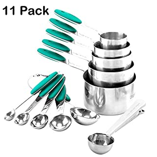 Measuring Cup and Spoon Set of 11 Top Quality 18/8 Stainless Steel Stackable Cups with Spoons Coffee Scoop Sealing Clips(Teal/Turquoise)