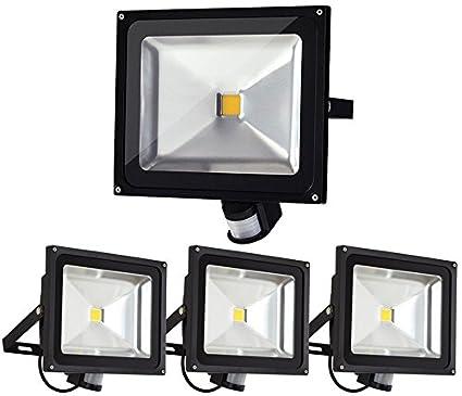 4pcs 50W Foco LED con Sensor Movimiento,ALPHA Foco Proyector con Iluminación LED y PIR