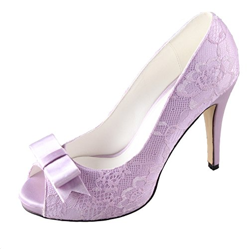 Creativesugar Women's Lavender Lace Open Toe Wedding Dress Shoes (Lavender Dress Shoes)