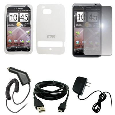 EMPIRE Clear Silicone Skin Cover Case + Mirror Screen Protector + Car Charger (CLA) + Home Wall Charger + USB Data Cable for Verizon HTC (Htc Car Charger Silicone Skin)