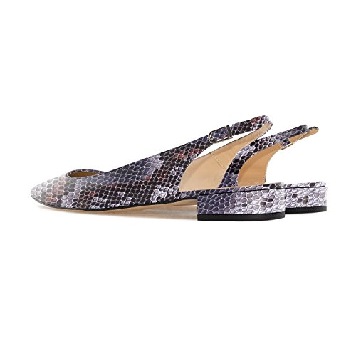 Classic ELASHE Purple Women Back Toe 2cm Pumps Shoes Court Slingback 3 Pointed Heels Low Flats Strap pTqHpz