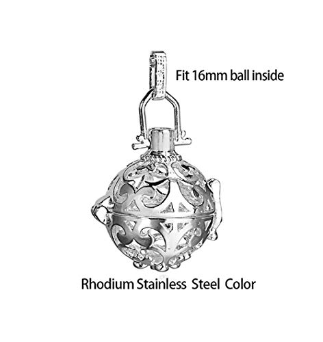 (Hollow Cage Ball Box Diffuser Necklace | Locket Pendants | for Perfume Essential Oil Jewelry Findings (1pc))