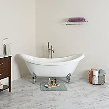 maykke mona 71 inches traditional oval acrylic clawfoot tub white double slipper bathtub with feet - Acrylic Clawfoot Tub