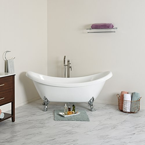 For Sale! MAYKKE Mona 71 Inches Traditional Oval Acrylic Clawfoot Tub, White Double Slipper Bathtub ...