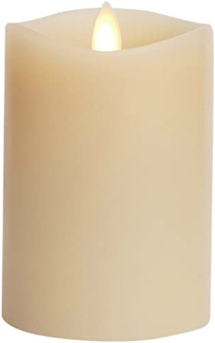 Luminara Flameless Candle 360 Degree Top, Vanilla Scented Moving Flame Candle with Timer 4 Ivory