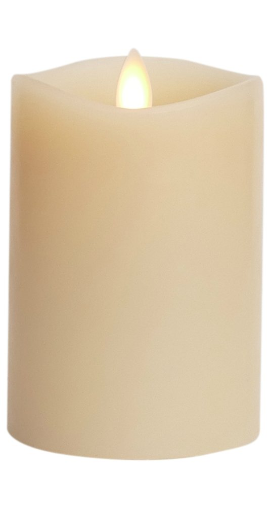 Luminara Flameless Candle: 360 Degree Top, Vanilla Scented Moving Flame Candle with Timer (4'' Ivory)