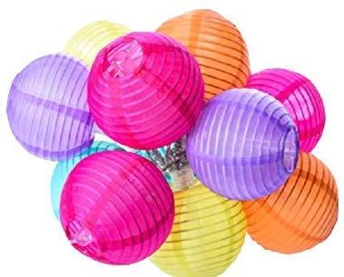 LOKATSE HOME 13 Ft 20 LED Nylon Colorful Paper Lantern String Lights Outdoor Indoor for Weddings, Christmas,Garden, Halloween, Bedroom Party Decoration (For Lanterns String Lights Paper)