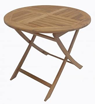 Table pliante, Table ronde, table de jardin, table en bois ...