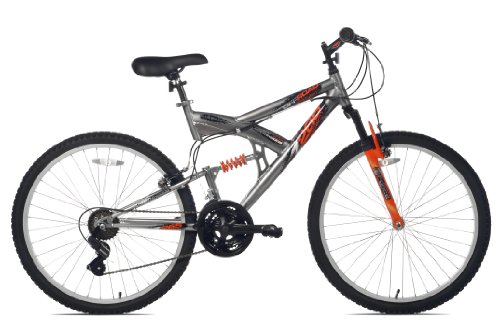 Northwoods Aluminum Full Suspension Mountain Bike, 26-Inch, Grey/Orange