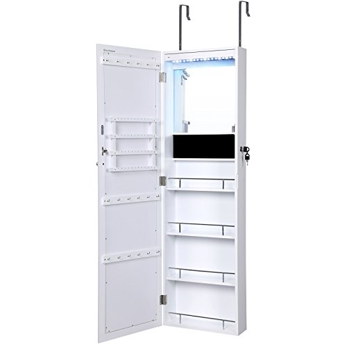 SONGMICS Lockable Jewelry Cabinet Wall Door Mounted Makeup Armoire Organizer with Mirror LED Lights, White (Over The Door Mirror Armoire compare prices)