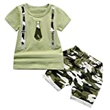Lavany Toddler Boys Clothes 2pc Short Sleeve Print Tops+Como Shorts Casual Outfits Green