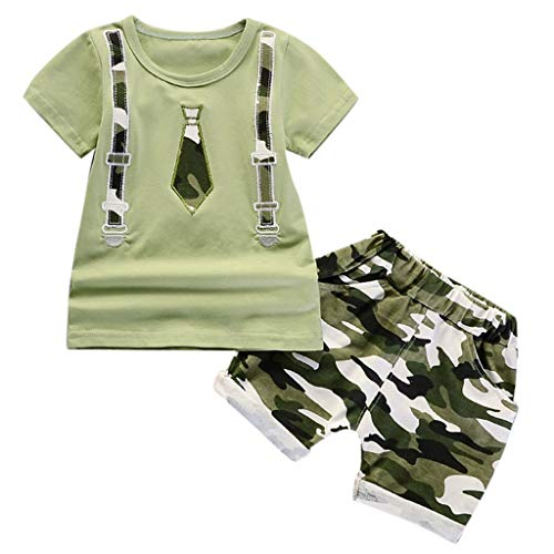 (Toddler Kids Boys Summer Cartoon T-Shirt Tops Camouflage Shorts Outfits Set)