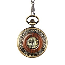 jklek Box Package Solid Wood Mechanical Pocket Watch Chain Locket Dial Hollow Skeleton Men Women Clock Watches PM004