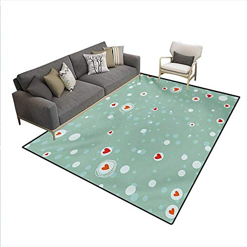 Carpet,Sketchy Circles Hearts Abstract Dots Turquoise Backdrop Image,Non Slip Rug Pad,Seafoam Orange White,5'x8' -