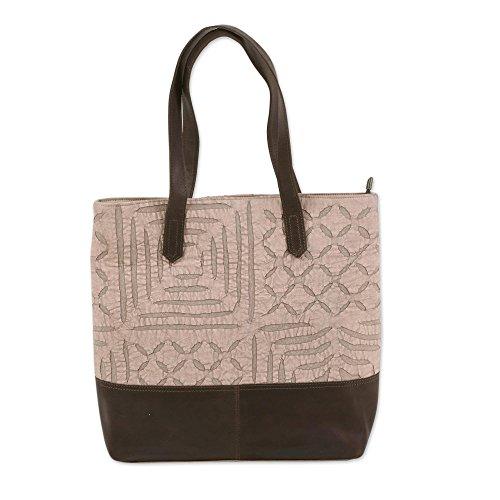NOVICA Beige Leather Accent cotton Tote Bag, Beige Web' (Handmade Handbag Accent Indian)