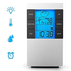 Indoor Hygrometer , GOOQ Digital Temperature Humidity Gauge Meter with Calendar /Alarm /Clock/Weather Forecast