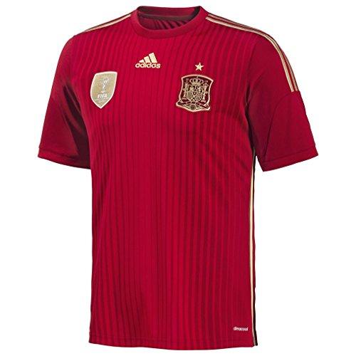 置換典型的なキュービックADIDAS SPAIN HOME SOCCER JERSEY (RED) 2013-14/サッカーユニフォーム スペイン ホーム用 背番号なし 2013-14