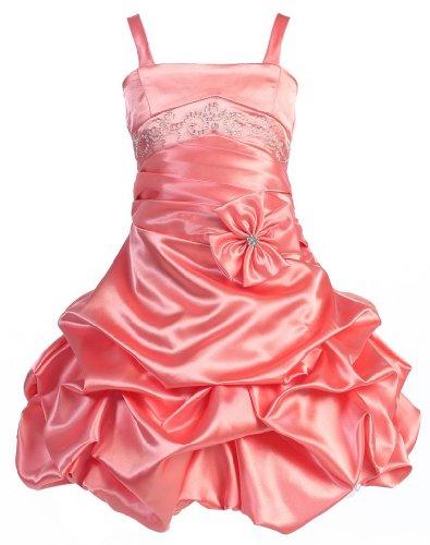 Wonder Girl Curly Sue Big Girls' Satin Short Pick Up Rhinestone Dress 14 Coral