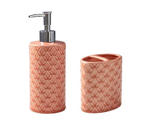 Better Homes & Gardens Geo Trellis Hand Soap & Lotion Pump, Coral bundle with Better Homes & Gardens Geo Trellis Toothbrush Holder, Coral from La Rosticceria