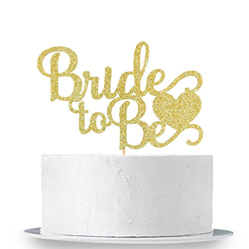 Bride Cake - Gold Glitter Bride To Be Cake Topper - Bridal Shower Party Decorations Supplies
