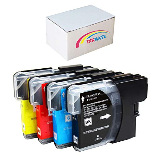 nk Cartridge for Brother LC-61 LC61 for Brother DCP-165C DCP-375CW DCP-385CW DCP-395CN DCP-585CW DCP-J125 DCP-J140W Printer (1 Black, 1 Cyan, 1 Magenta, 1 Yellow) ()