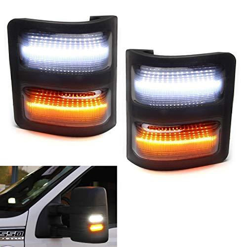 (iJDMTOY Smoked Lens White/Amber LED Side Mirror Marker Signal Light Kit For 2008-16 Ford F250 F350 F450 Super Duty, Upper White LED Running Light, Lower Amber LED Blinker Light)