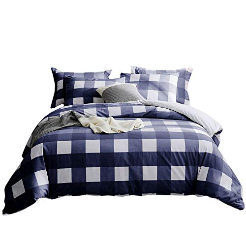 Merryfeel 100% Cotton Yarn Dyed Duvet Cover Set - King Navy