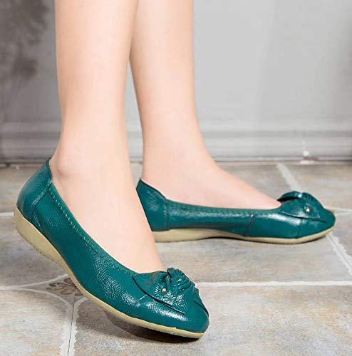 Slip Women's Fangsto Flats Loafers Working Leather Genuine Teal Shoes Ons 0wdAqwf