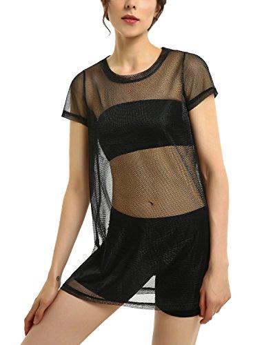 Black Metallic Mesh Mini Dresses Full See Through Top for Women