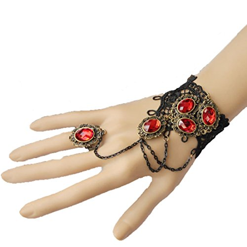 [MAFMO Fashion Women Punk Black Lace Wristlet Red Rhinestone Drop Pendant Bracelet With Ring] (Melody Costume)