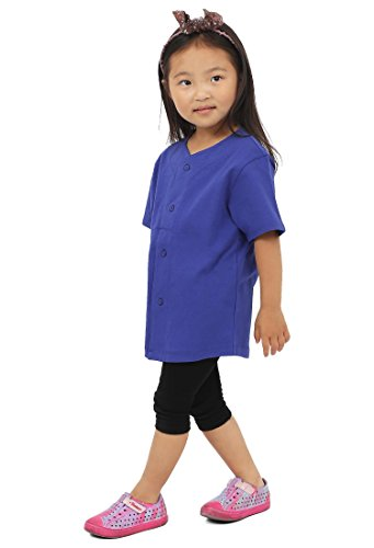 Kids Baseball Button Down Jersey Uniform Plain XXS-XL (Small, Royal Blue)