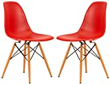LeisureMod Calbert Molded Plastic Dining Chair with Wooden Dowel Legs in Red, Set of 2 Review