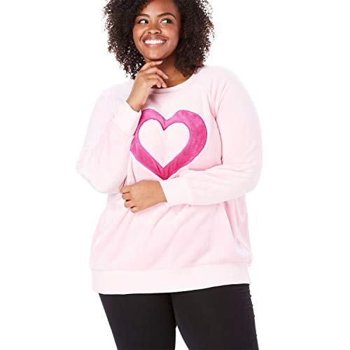 Dreams & Co. Women's Plus Size Plush Graphic Sweatshirt - Raspberry Sorbet Heart, 34/36