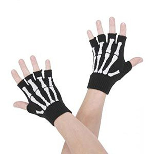 White Woven Bone Fingerless Black Wrist Gloves