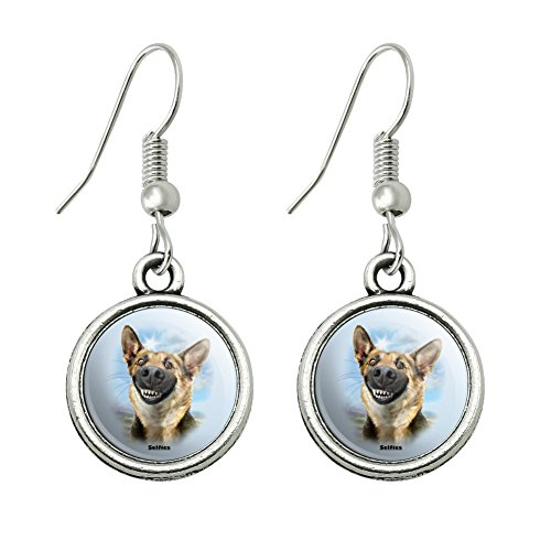 - GRAPHICS & MORE German Shepherd Dog Selfie Novelty Dangling Drop Charm Earrings