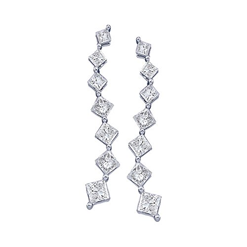Solid 14k White Gold Princess Cut White Diamond Journey Prong Set Dangle Earrings (1/2 cttw)