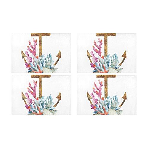 Art Anchor Icon Simbólico Patrón Cocina Estanque impreso Resistente al calor Aislamiento Lavable Mesa cuadrada Mantel...