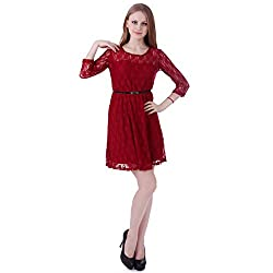 HDE Women's Sexy 3/4 Sleeve Boho Floral Lace Sheath Mini Dress