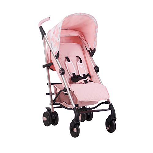 My Babiie Believe Butterflies Baby Stroller – Lightweight Baby Stroller with Carry Handle – Silver Frame and Pink Butterflies Canopy – Lightweight Travel Stroller – Stylish Umbrella – Babies 6 Months